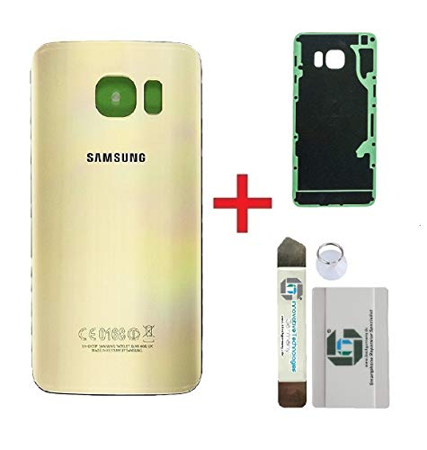 iTG® Original Akkudeckel Reparatur-Set für Samsung Galaxy S6 Edge Plus Gold (Gold Platinum) – Original Samsung Rückseite Batterieabdeckung für SM-G928F + Vormontierte 3M Klebefolie Werkzeug-Set