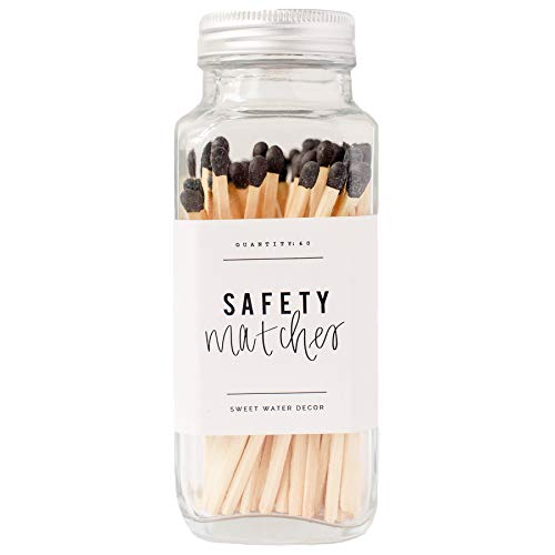 Sweet Water Decor Black Safety Matches - Glass Jar | 60 Strike On Bottle Matches Vintage Matches Home Decor Candle Accessory Black Tip