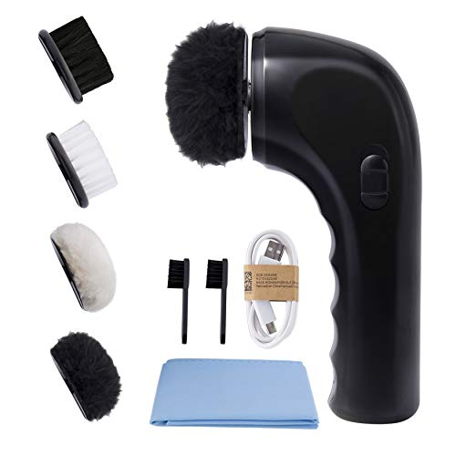Electric Shoe Shine Kit, Sansent Electric Shoe Polisher Brush Shoe Shiner Dust Cleaner Portable Wireless Leather Care Kit for Shoes, Bags, Sofa