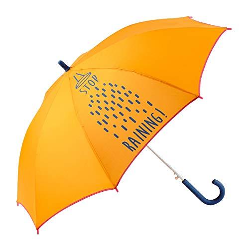 GOTTA Paraguas Infantil niño/niña. Antiviento y automático. Dibujo Lluvia - Stop Raining - Naranja