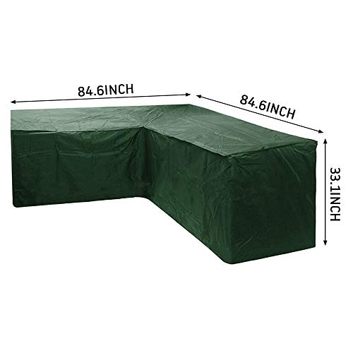 Relax love L-shaped Garden Furniture Covers Waterproof Anti-UV Dustproof Protective Corner Sofa Cover With Storage Bag for Outdoor Patio Sofa Couch (Green, 215X215X87CM)