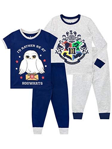 HARRY POTTER Pijamas de Manga Corta para niñas Paquete de 2 de Ajuste Ceñido Multicolor 8-9 Años