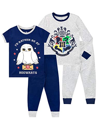 HARRY POTTER Pijamas de Manga Corta para niñas Paquete de 2 de Ajuste Ceñido Multicolor 11-12...