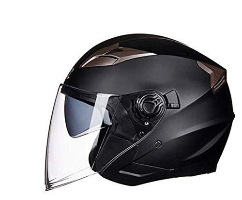 OLEEKA Casco de seguridad de doble lente de seguridad respirable para hombres, mujeres, media cara, material de ABS, casco de moto eléctrico