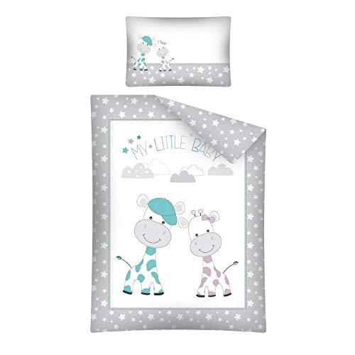 Arle-Living 3 TLG. Baby Bettwäsche Set mit Wende Motiv: Giraffen Babies - 100x135 cm + 40x60 cm + 1 Spannbettlaken in weiß 70x140 cm (Grau)