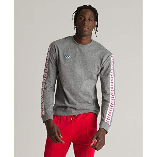 ARENA M Long Sleeve Shirt Team T, Hombre, Dark Grey Melange/White/Red, L