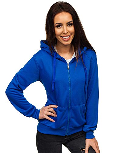 BOLF Damen Kapuzenpullover Sweatshirt mit Kapuze Sport Pullover Sweatjacke Hoodie Langarmshirt Farbvarianten Sweater Reißverschluss Fitness Training J.Style WB1005 Blau L [A1A]