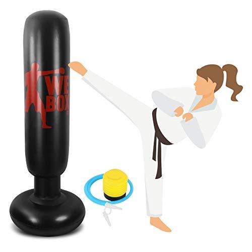 Winload Boxsack Kinder, 160 cm Aufblasbarer Standboxsack, Boxsäcke Stehend für Erwachsene Kinder Jugenbdliche, Fitness Krafttraining Dekompression, zum Üben von Karate, Taekwondo, mit Fußluftpumpe