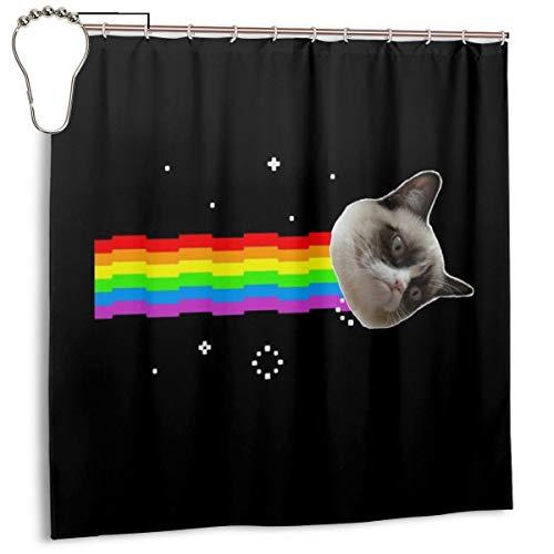 GSEGSEG Wasserdichter Polyester-Stoff Duschvorhang Grumpy Cat Nyan Cat Meme Print Dekorative Badezimmer Vorhang mit Haken, 183 cm x 183 cm