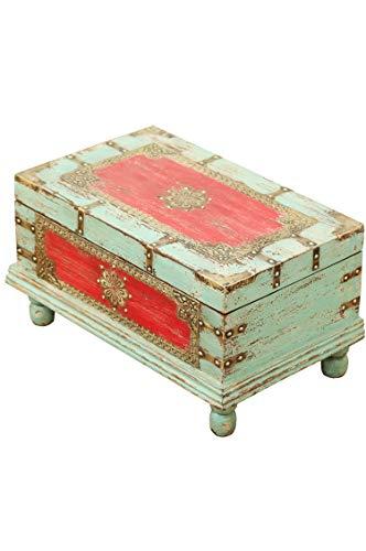 Orientalische Truhe Kiste aus Holz Arjuna Rot - 47cm groß | Vintage Sitzbank mit Aufbewahrung für den Flur | Aufbewahrungsbox mit Deckel im Bad | Betttruhe als Kissenbox oder Deko im Schlafzimmer - 2