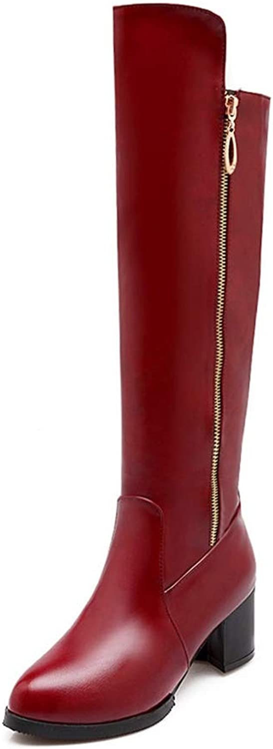 JOYBI Womens Fashion Chunky Mid Heels Boot PU Leather Non Slip Waterproof Zip Round Toe Knee High Boot