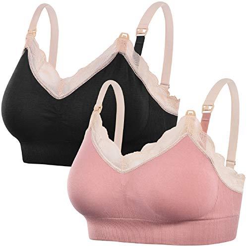 Tuopuda Sujetador de Lactancia para Mujer Sujetador de Maternidad sin Costuras Sujetadores para Premamá Sostén Embarazada para Lactancia y Dormir(Negro + Rosa,XL)