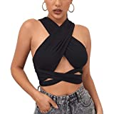 Elfurie Women's Criss Cross Halter Neck Top Wrap Cutout Crop Top Sexy Tie Back Strappy Bandage Y2K Multi Way