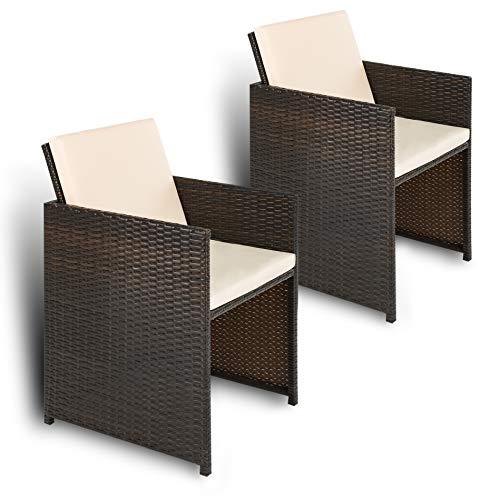 Estexo Polyrotan tuinstoelen, 2-delige set, rotan, tuinstoelen, fauteuils, stoelen en stoelen bruin