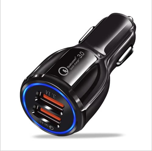 DK177 Cargador de coche, mini 30 W/6.0 A doble puerto USB QC 3.0 cargador de teléfono de coche, adaptador de carga rápida de 12/32 V para iPhone/iPad/Android