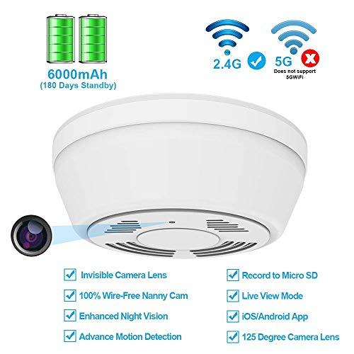Detector de humo de cámara oculta WiFi,cámara de niñera activada por movimiento con 180 días de energía de la batería, acceso remoto a Internet,visión nocturna,lente de cámara oculta de vista inferior