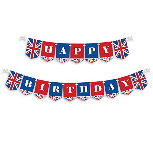 Big Dot of Happiness Cheerio, London - British UK Birthday Party Bunting Banner - Birthday Party Decorations - Happy Birthday