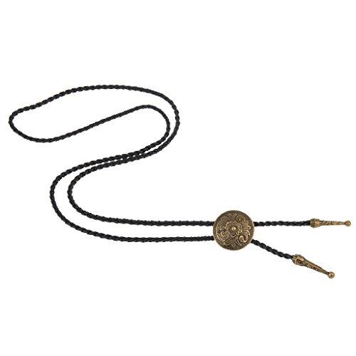 Homyl Unisex Bolo Krawatte Halskette mit Western Rodeo Cowboy Bolo Tie Anhänger - Bronze