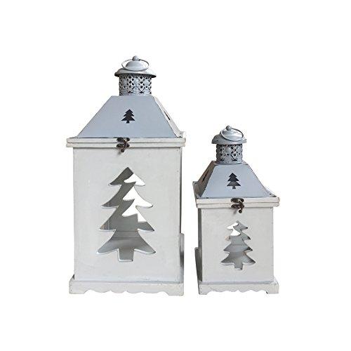Rebecca Mobili 2-częściowy zestaw dekoracyjnych świeczników w kolorze białym z metalu drewno szkło Shabby Chic akcesoria dom ogród balkon (kod RE6237)