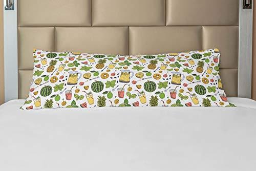 ABAKUHAUS Tropisch Hoes voor Ligzak met Rits, Dranken van de zomer fruit, Decoratieve Lange Kussensloop, 53 x 137 cm, Veelkleurig