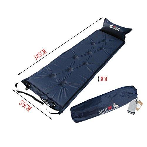 Matelas autogonflant Pad léger avec taie d'oreiller, bleu marine