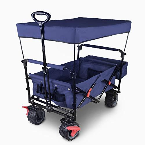 """LOMOS Transportwagen """"Allrounder"""", faltbar, mit Dach und großen Reifen in blau"""