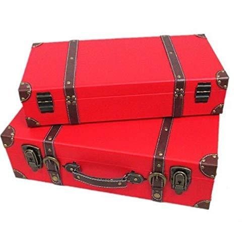N&W Vintage Suitcase Jewelry Box Storage Rack Pristine Beautiful Handmade Antique Pirate Treasure Wedding Decoration Home Decoration Handle Retro Storage Box (Color : Brown Size : Large+Small)