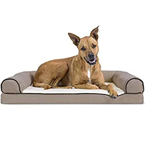 Furhaven Pet Dog Bed – Orthopedic Faux Fleece and Chenille Soft Woven Traditional Sofa-Style Living Room Couch Pet Bed with Removable Cover for Dogs and Cats, Cream, Large