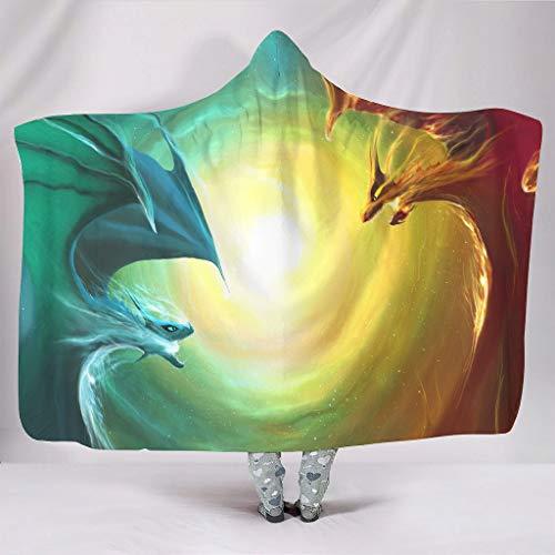 Super zacht met capuchon deken magisch ijs vuur draak fantasie druk warmer winter sherpa grappig capuchon shirts lussen bank beddengoed