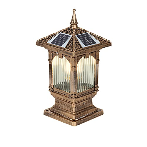 Solar Luz de Columna Impermeable IP55, Regulable Lámpara de Poste LED/ E27,...