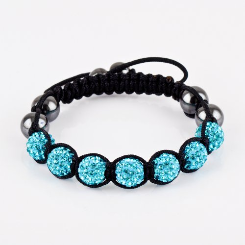 (Aqua blue) High quality amazing color 7 balls Forever Charming shamballa bracelet/shamballa disco crystal paved clay ball/beads bracelet/white/Aqua blue