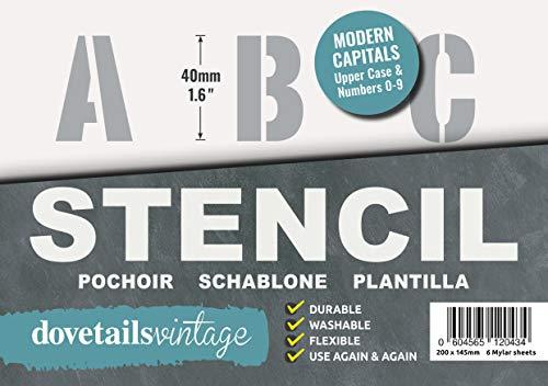 Plantilla Letras – 4 cm de altura – Alphabet y Números 0-9, Moderno Mayúsculas – en 6 hojas de 200 x 148mm