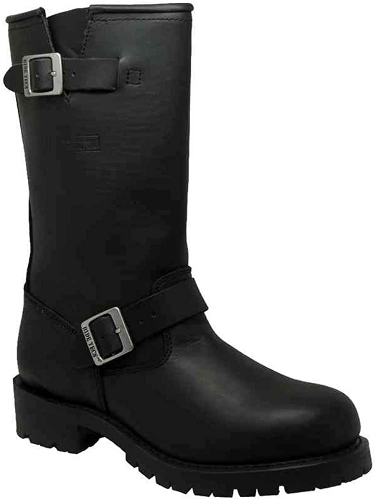 AdTec Men's Engineer Boot Black Leather Motorcycle/Work/Safety Boots 1440