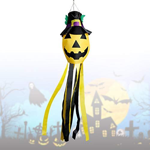 Halloween Windsock Flag,Large Pumpkin Windsock Decoration Halloween Welcome Decoration Tree Hanging Windsock Flag…