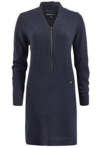 khujo Damen Kleid Lykke kurzes Strickkleid weiches Pulloverkleid mit Reißverschluss