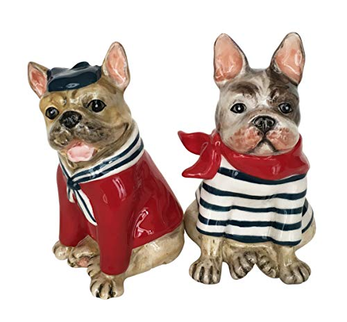Blue Sky Ceramics French Bulldog Salt & Pepper Set, Multi