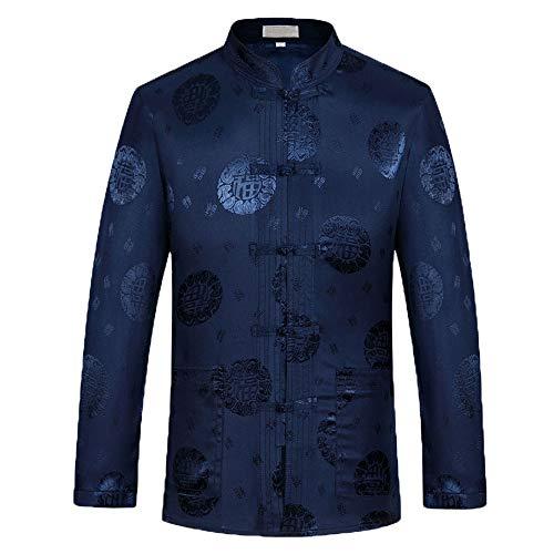 Airuiby Tang Anzug Herren und Frauen Hanfu Chinesische Traditionelle Kleidung Kung Fu Shirt Uniform Langarm Mantel Tops (Herren Blau, EU L/Asia Size XXL)