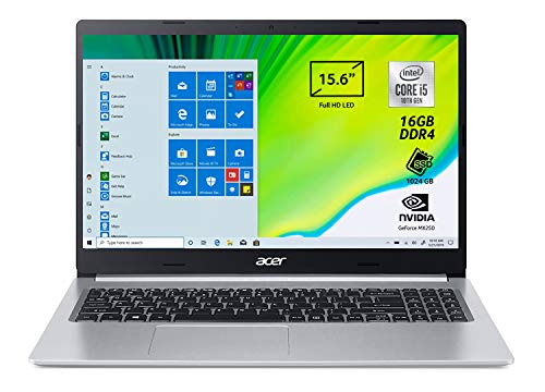 "Acer Aspire 5 A515-55-509R Pc Portatile, Notebook con Processore Intel Core i5-1035G1, Ram 8 GB DDR4, 512 GB PCIe NVMe SSD, Display 15.6"" FHD LED LCD, Intel UHD, Windows 10 Home, Silver"