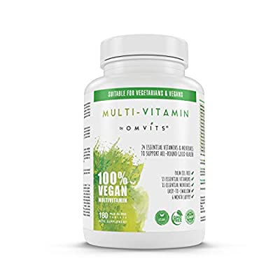 Vegan Multivitamins & Minerals - 180 Tablets - Palm Oil Free - for Men & Women (6 Month Supply) - Includes Vitamin C, D, B12, E, K2, B-Complex, Folic Acid, Iron, Magnesium, Calcium & More - GMO Free