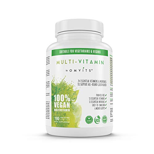 Vegan Multivitamins & Minerals with Vitamin B12, D3, K2, Iron, Magnesium, Folic Acid & More - 180 Tablets (6 Month Supply) - Perfect for Men & Women - Palm Oil Free - GMO Free