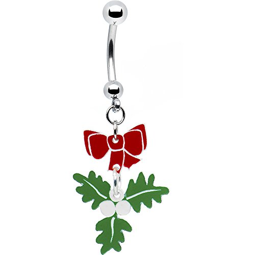 Body Candy Women's Red Bow Mistletoe Belly Button Ring