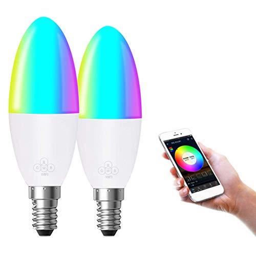 FEDBNET Lampadina WiFi 6W=60W, Lampadina a Candela intelligente Compatibile con Alexa Google Home e IFTTT, Lampadina Dimmerabile Multicolore Smart LED (E14 / E26 / E27 / B22, Opzionale),2Pacchi