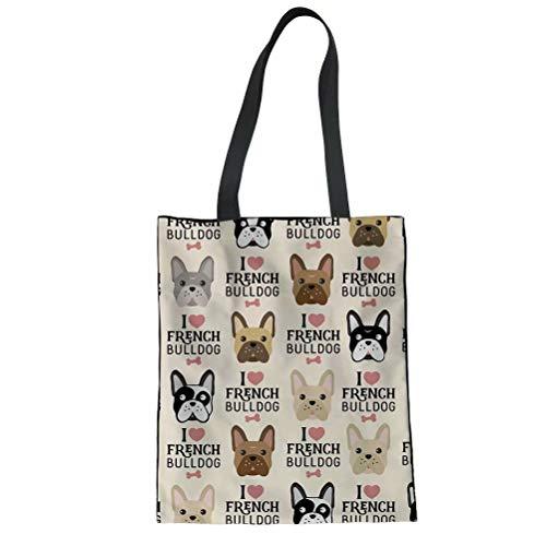 FOR U DESIGNS Women Canvas Shoulder Bag French Bulldog Print Tote Casual Top Handle Bag for School