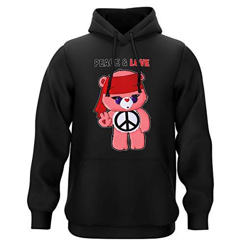 Sweat-Shirt à Capuche Noir Parodie Bisounours - Bisounours - Peace and Love ! (Chibi Version) (Sweatshirt de qualité Premium de Taille M - imprimé en France)