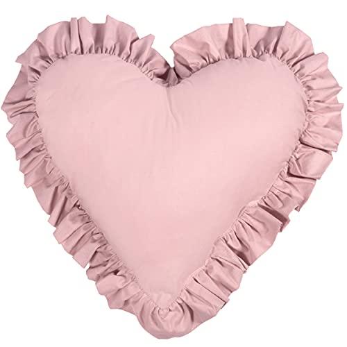 Cuscini decorativi con imbottitura per bambini - cuscini morbidi, cuscini decorativi, cuscini a cuore con volant (Rosa, 45 x 50 cm)