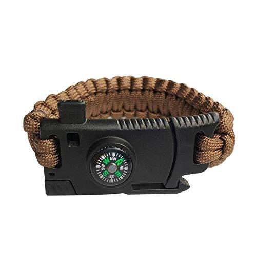 HND ZNXHNDSH Notfall Geflochtene Überlebens-Armband Männer Frauen Paracord Outdoor-Camping-Rettungs-Seil-Armband-Kompass Whistle Messer 4 in 1 (Color : Brown)