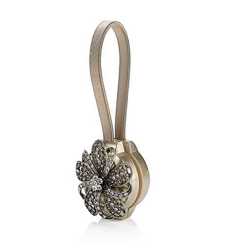 Fenstervorhang Raffhalter Clips Magnetischer Krawattengürtel Kristall Magnetische Clips Krawatte Bequemer Vorhang Krawattenhalter für Fenster MEHRWEG VERPAKUNG(Bronze)