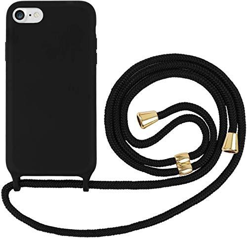 Oihxse Funda con Cuerda Compatible para iPhone 7+ Plus/8+ Plus Carcasa de Silicona Líquida Suave con Correa Colgante Ajustable Case Moda Ultra Delgado Antigolpes Protección Cover,A2