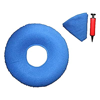 TUAKIMCE Hemorrhoid Donut Seat, Haemorrhoid Pain Inflatable Ring Cushion, Hemorrhoid Pillow, Pain Relief for Hemorrhoids, Post Natal, Surgery, Pressure Sores- Air Pump Included (Blue)