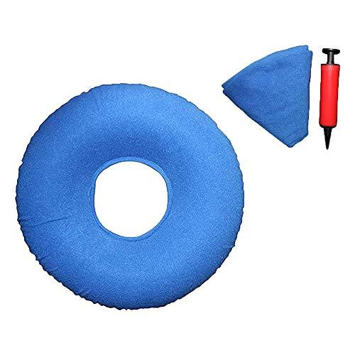 XIAQIU Cojín Inflable Redondo, Cojín de Anillo Inflable Cojín de Anillo Inflable, con 1 Bombas, Cojín de Asiento Donut,Cojín de Asiento Redondo,Cojín Redondo (azul)